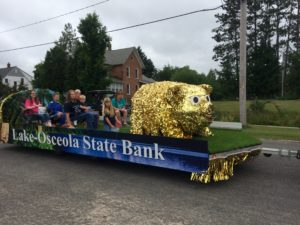Lake Osceola State Bank in Razzasque Days Parade in LeRoy